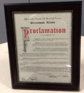 Village of Streamwood Proclamation